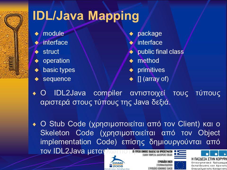 IDL/Java Mapping module. interface. struct. operation. basic types. sequence. package. interface.